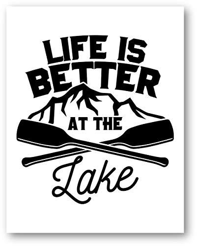 Ramini Brands Life is Better at The Lake Wall Artwork Wandbild - Seehausdekor, ungerahmt, ideales Geschenk für Mancaves, Hütten und Wassersportbegeisterte