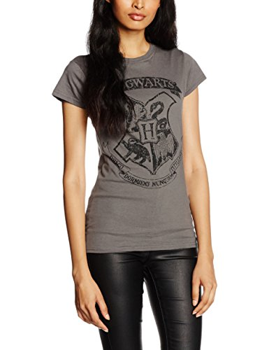 CID Harry Potter-Distressed Hogwarts W, T-Shirt Donna, Grigio (Charcoal), Large
