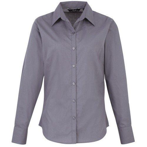 Premier - Camisa lisa de popelín de manga larga para mujer (48/Acero)