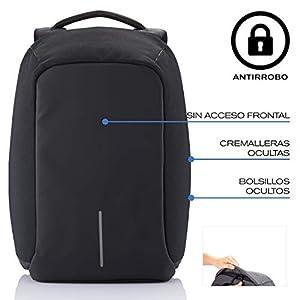 XD Design Bobby Original Mochila Antirrobo Portátil con USB Negro (Bolsa Unisex)