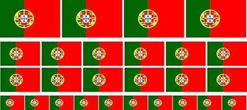 Mini Aufkleber Set - Pack glatt - 4x 51x31mm+ 12x 33x20mm + 10x 20x12mm- selbstklebender Sticker - Portugal - Flagge / Banner / Standarte fürs Auto, Büro, zu Hause und die Schule - Set of 26 -