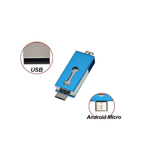 Kepmem otg pennetta usb 2.0 da 32gb mini metallo pendrive per android smartphone/tablet/pc(blu)