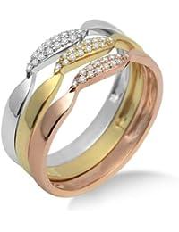 Miore Damen-Ring 3-teilig 375 Tricolor mit Brillanten MF9011RM