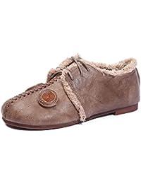 Angrousobiu Primavera zapatos de cuero suave, una moneda salón retro con una base plana con zapatos de mujer,38...