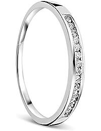 4061a29ec7a3 Orovi anillo de mujer compromiso aniversario 0.10 Quilates diamantes en oro  blanco 18 kilates ley