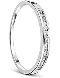 Orovi anillo de mujer compromiso/aniversario 0.10 Quilates diamantes en oro blanco 18 kilates ley
