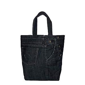 Leichte Schultertasche Damen Dunkelblau Shopper Damen groß Einkaufstasche faltbar Zero waste Damen Tasche Shopping Bag Vintage Handtasche Damen Denim bags for women