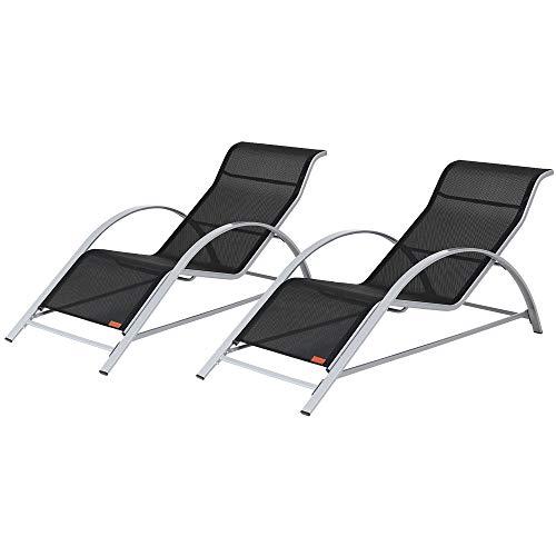 Casaria Lounge Set Siena 2X Liege Stahl 2 TLG Gartenliege Sonnenliege Liegestuhl Poolliege Relaxliege Freizeitliege