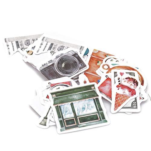 Weryffe 46 Stücke Reise Aufkleber DIY Vintage Retro Klassische Reise Aufkleber Für Tagebuch Sammelalbum Dekor Klebstoff Memo Pad Schreibwaren Zubehör (46 Stücke)
