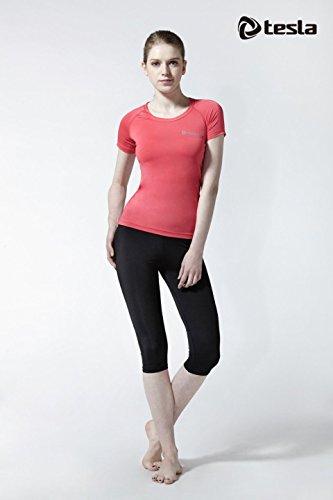 TESLA Femmes Filles Haut à manches Courte Léger Compression couche de base Sport Skins Rose Foncé