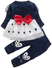 Ropa Bebé , Amlaiworld Bebé niña de manga larga vestido de princesa + pantalones conjunto 0-4 Años