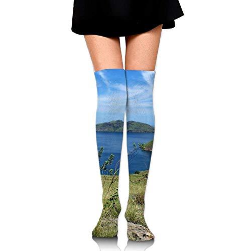 tianjianzulinyouxiangongsi Sea Coastline Blue Sky Casual Crew Top Socks,Tube Over Knee Nursing Compression Long Socks,3D Printed Sports for Girls&Women 50CM -