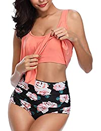 b87b28da044 Deloito Women High Waisted Halter Swimsuit Swimwear Ruffled Bikini Set Two  Piece Bathing Suit Floral Swimming