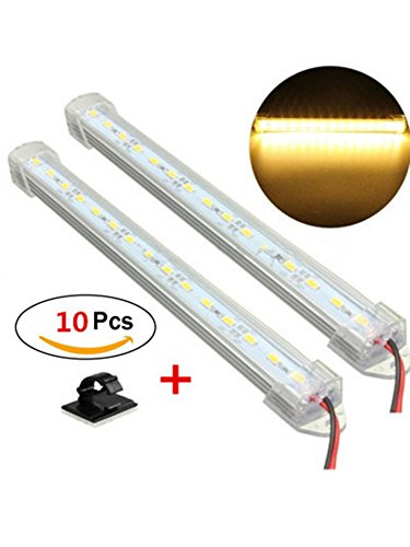 Rise Long 2 x 12 V 30 cm LED Innen Camper Caravan Van Lights Bar für Auto Boot Home Office mit Kabel-Clips (Kabel Gemütlich)
