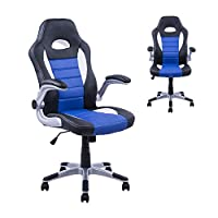 Homcom Racing Office Chair PU Leather Bucket Computer Chair Gaming Swivel Adjustable Desk Chair