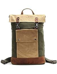 9c903df45e2 MISSKERVINFENDRIYUN YY4 Retro Wind Hit Color Shoulder Bag Crazy Horse  Leather Canvas Bag Student Backpack (