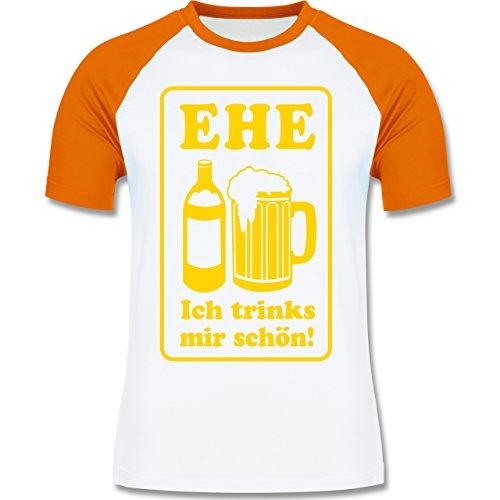 JGA Junggesellenabschied - Ehe - Ich trinks mir schön - zweifarbiges Baseballshirt für Männer Weiß/Orange