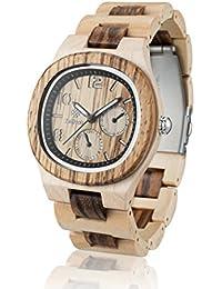 Tiempo Reloj de madera madera abeto Montaña de madera de arce/Zebrano/Producto natural/antialérgico/SOSTENIBLE/Fecha/24H pantalla hecha a mano