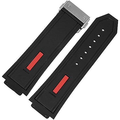 De repuesto 28mm negro rojo de goma correa de reloj de cierre desplegable Hublot Big Bang