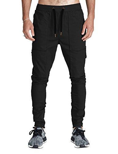 ITALY MORN Herren Cargo Chino Hose Sweatpants Sporthose Jogging Baggy Jogginghose Slim Trainingshose Cargo Pants Twill Schwarz (M, Schwarz)