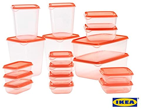 IKEA PRUTA Standard Durable Plastic Storage Food Containers of 17 Pieces For Fridge & Freezer