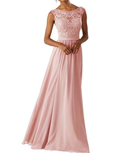 Frauen Chiffon Brautjungfer Kleider Sleeveless Lange Prom Abendkleider Rosa Größe 34