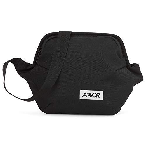 AEVOR Hip Bag Plus - 1 auf 1,5 Liter erweiterbar, Smartphone Schnellzugriff, 2 Wege Zipper, wasserabweisend, Mesh-Innentasche, größenverstellbarer Gurt, Black Eclipse