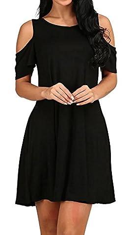 Aitos Damen Kleid Knielang Kurz Shirtkleid Strandkleid Sommerkleid Off Shoulder