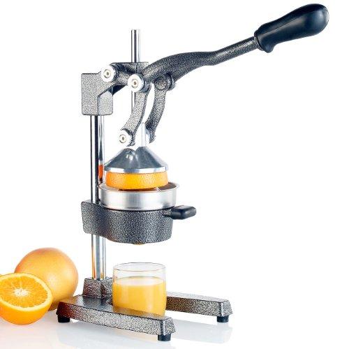 Rosenstein & Söhne Orangenpresse Hebel: Professionelle Hebel-Zitruspresse PREMIUM. Hammerschlag lackiert, XL (Orangensaftpresse)