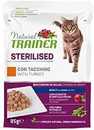 Natural Trainer Sterilised - Cibo Umido per Gatti Adulti Sterilizzati con Tacchino e Fibra di Pisello - 12 Bus