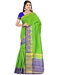 d66d7d75d7 Roopkala Silks & Sarees Women's Tussar Silk Plain Saree (SV-1568, Parrot  Green