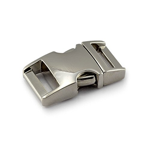 Klickverschluss aus Metall im 3er Set, 5/8'' Klippverschluss/Steckschließer/Steckverschluss für Paracord-Armbänder, Hunde-Halsbänder, Rucksack, Farbe: Silber -
