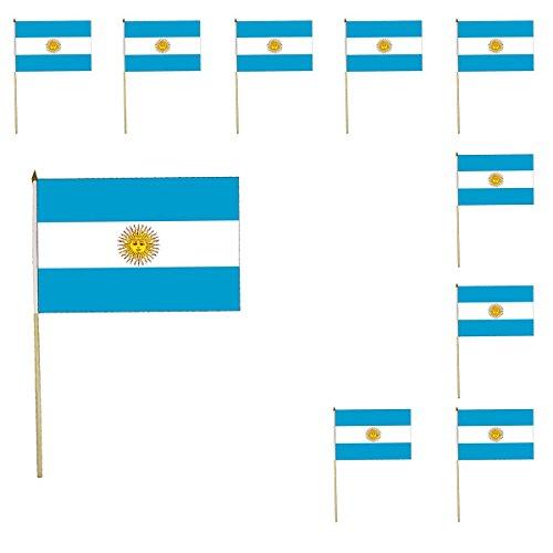 Sonia Originelli 10er SET Fahne Flagge Winkfahne WM Fußball Fan Stab Farbe Argentinien