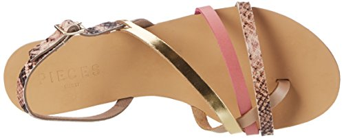 PIECES Damen Pslavina Leather Sandal Snake Slingback Pink (Rose Dawn)