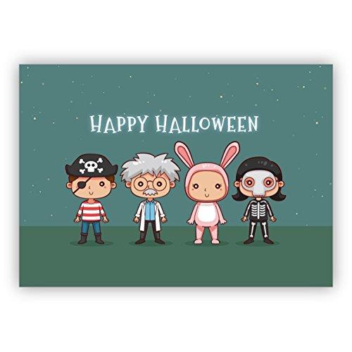 Karte mit verkleideten Kindern: Happy Halloween (Office-halloween-deko-ideen)