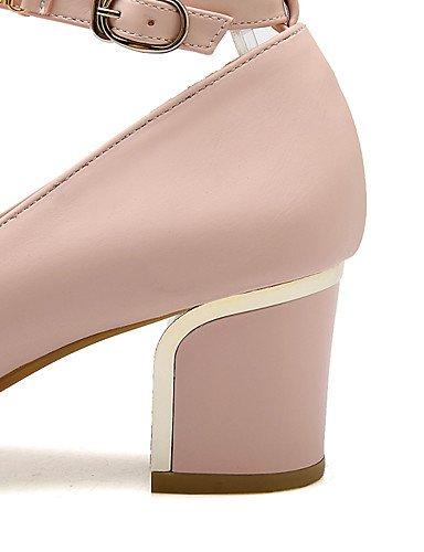 WSS 2016 Chaussures Femme-Bureau & Travail / Décontracté-Noir / Rose / Blanc-Gros Talon-Talons / Confort / Bout Arrondi-Talons-Similicuir pink-us5 / eu35 / uk3 / cn34