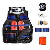 Locisne Kids Jungle Tactical Vest Jacket Kit voor Nerf Gun N-Strike Elite Series (w / 20st Foam Darts + beschermende bril + naadloze schedel gezichtsmasker + 2st 6-dart Quick Reload Clip + 1st 8-dart polsband)