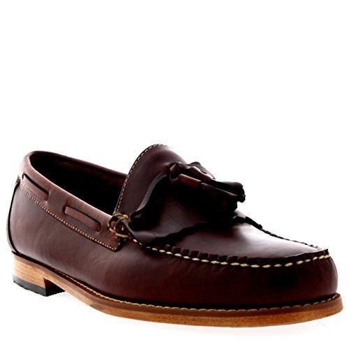 Loafer Bass Braun (G.H Bass Herren Weejuns Layton Pull Up Kiltie Leder Müßiggänger Schuhe - Dunkel Braun - 43)