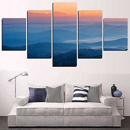 axqisqx Home Decor Leinwand Gemälde Hd Gedruckt Poster 5 Panel Sunrise Mist Mountains Wandkunst Moderne Bilder Für Wohnzimmer - Mist-panel