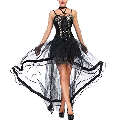 INLLADDY Damen Korsagekleid Steampunk Gothic Kostüm Magic Mistress Hexenkostüm Teufelchen Halloween Cosplay 2PCS Tops+ Rock A L (90's Power Ranger Kostüm)