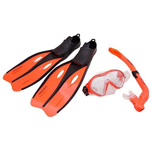 Profi Schnorchel Set DUNLOP Schwimmflossen Taucherbrille Tauchmaske Kinder Jugend Erwachsene Größe 32-42 (Orange, 35-37)