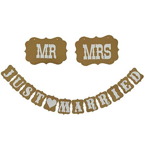 Hochzeits Wimpelkette, Cocodeko Just Married und Mr & Mrs Buchstaben und Papier Girlande Banner Hochzeit Deko Present Foto Requisit - Vintage Garland
