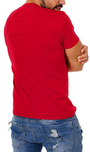 Young & Rich Herren Uni feinripp Basic T-Shirt mit Knopfleiste & tiefem V-Ausschnitt deep V-Neck slim fit einfarbig 1873 Rot