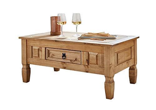SAM® Couchtisch aus Kiefernholz, Mexico-Möbel, rustikaler Tisch mit Schubfach, Gewachste Oberfläche mit Schwarzem Metallgriff, ca. 100 x 60 cm [521545]