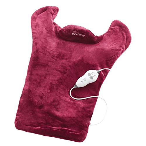 Sairis Thermapulse Relief Wrap Burgundy Extra-Long Massaging Heat Wrap beheizter Schal kombiniert beruhigende Wärme und Massage (ROT) Burgundy Heat