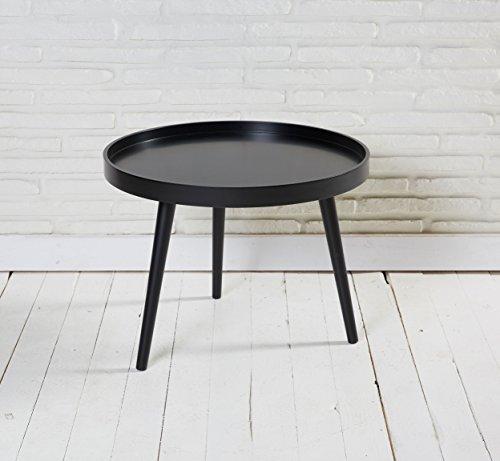Wholesaler GmbH Runder Couchtisch matt schwarz lackiert 60x45cm im Retro Design Tisch für das Wohnzimmer
