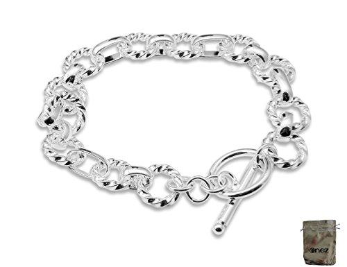 Original Enez Armband Armreifen 925 Sterling Silber plattiert Länge 20cm D321b + Geschenkbeutel