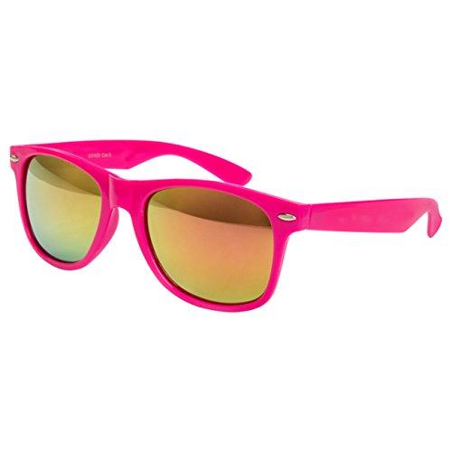 Ciffre Sonnenbrille Nerdbrille Nerd Retro Look Brille Pilotenbrille Vintage Look - ca. 80 verschiedene Modelle Pink Feuer Glässer