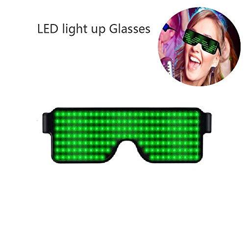 Insense Light Up Eyeglasses Flashing Shutter Neon Glowing Glasses Multicolor LED Luminous Glasses with 8 Modes for Party Christmas Birthday Eyeglasses (Green Light)