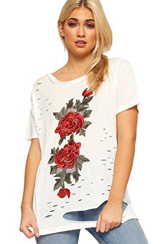 WEARALL Damen Bekümmert Zerrissen T-Shirt Top Damen Blumen Gestickt Schrägstrich Kurz Hülle - 38-44 Weiß
